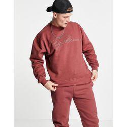 Sweat-shirt ton sur ton d'ensemble à logo signature - Bordeaux - Topman - Modalova