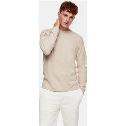 T-shirt côtelé à manches longues - Grège - Topman - Modalova