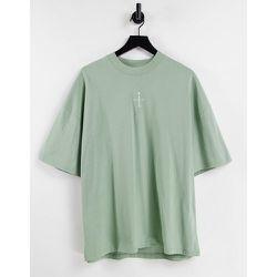 T-shirt oversize à col montant et écusson en caoutchouc «Paris» - Topman - Modalova