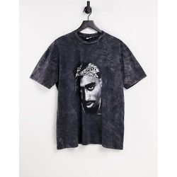 T-shirt oversize à imprimé Tupac - délavé - Topman - Modalova