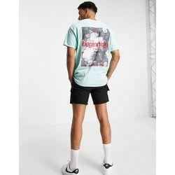 T-shirt oversize avec imprimé Beginnings sur le devant et au dos - sauge - Topman - Modalova