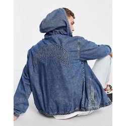 Veste en jean à capuche avec broderie - délavé moyen - Topman - Modalova