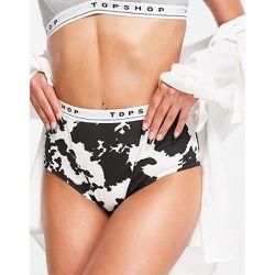 Boxer griffé à motif vache - Noir et blanc - Topshop - Modalova