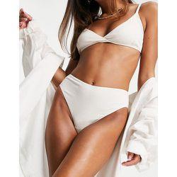 Culotte taille haute en tissu texturé - Écru - Topshop - Modalova