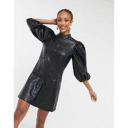 IDOL - Robe courte en similicuir à manches ultra bouffantes - Topshop - Modalova