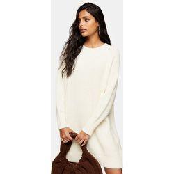 Robe courte en maille à encolure ras de cou - Ivoire - Topshop - Modalova