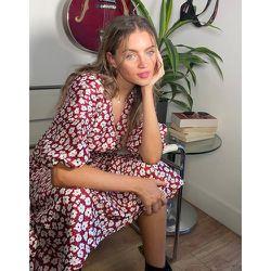 Robe mi-longue à manches bouffantes et imprimé pâquerettes - Topshop - Modalova