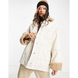 Veste en jean style charpentier avec col imitation peau de mouton - Écru - Topshop - Modalova