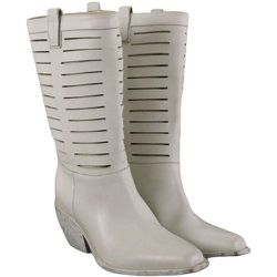 Women's ivory 3/4 Texan ankle boots with cuts , , Taille: 40 - Elena Iachi - Modalova