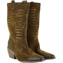 Women's brown 3/4 Texan ankle boots with cuts , , Taille: 36 - Elena Iachi - Modalova
