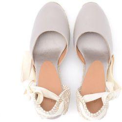 Carina wedge sandal in gray and dove gray canvas and jute - Castañer - Modalova