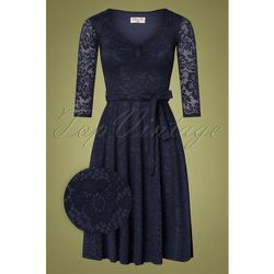 Myra Lace Tea Dress Années 50 en Marine - vintage chic for topvintage - Modalova