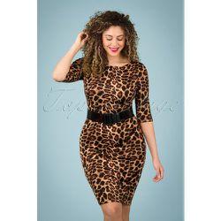 Kitty Pencil Dress Années 50 en Léopard - vintage chic for topvintage - Modalova