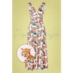 Grecian Leopard Hibiscus Maxi Dress Années 50 en Nacré - vintage chic for topvintage - Modalova