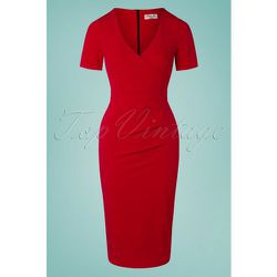S Viva Pencil Dress in Lipstick Red - vintage chic for topvintage - Modalova