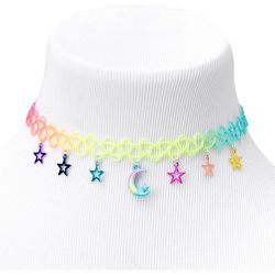 Ras-de-cou effet tatouage anodisé lune et étoiles - Claire's - Modalova
