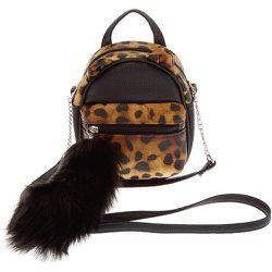 Mini sac à dos à bandoulière chat imprimé léopard en similicuir - Claire's - Modalova