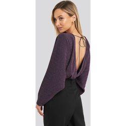 Open Back Plunge Neck Lurex Bodysuit - Purple - NA-KD Party - Modalova