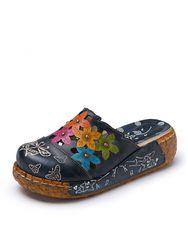 Sandales Originales En Cuir Avec Noeud À Deux Boucles Chaussures Vintage Plateforme Imprimé Floral - Socofy - Modalova