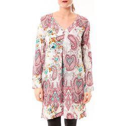 Tunique Robe Moda H G-0080-3 Blanc/Rose - Dress Code - Modalova