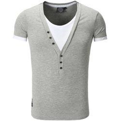 T-shirt Tee shirt fashion col v doublé T-shirt 202 gris clair - Carisma - Modalova