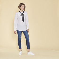 Promo : Blouse manches longues volants plissés et ruban contrasté - Blanc - 3 SUISSES - Modalova