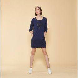 Robe courte cintrée manches 3/4 bas côtelé et poches - Bleu Indigo - 3 SUISSES - Modalova