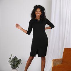 Promo : Robe courte manches 3/4 et ceinture à nouer - Noir - 3S. x Le Vestiaire - Modalova