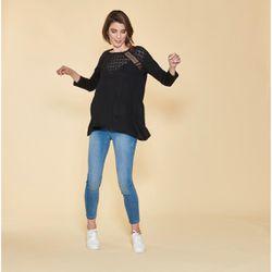 Promo : Tee-shirt asymétrique manches longues guipure et dentelle sur poitrine - Noir - 3 SUISSES - Modalova