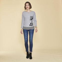 Tee-shirt effet 2 en 1 imprimé bas asymétrique contrasté - gris chiné - 3 SUISSES - Modalova
