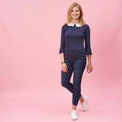 Promo : Tee-shirt manches 3/4 col brodé amovible - Bleu Marine - 3 SUISSES - Modalova
