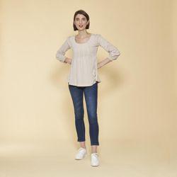 Tee-shirt manches longues élastiquées et dentelle - Sable - 3 SUISSES - Modalova