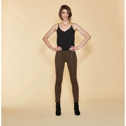Promo : Tregging large taille élastique zips fantaisie et poches dos - kaki foncé - 3 SUISSES - Modalova