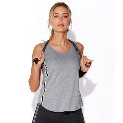 Promo : Tee-shirt fitness sans manches élastiques latéraux - gris chiné - 3 SUISSES - Modalova