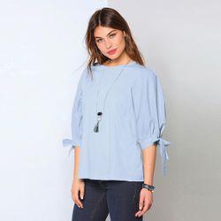 Promo : Tee-shirt manches 3/4 bouffantes rubans noués - Bleu Ciel - 3 SUISSES - Modalova