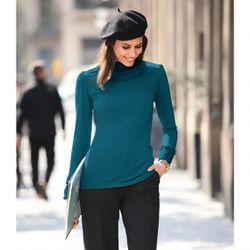 Promo : Tee-shirt col montant manches longues volants - Bleu Pétrole - 3 SUISSES - Modalova