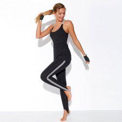 Promo : Pantalon fuseau fitness taille élastique rayures latérales - Noir - 3 SUISSES - Modalova