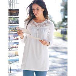 Promo : Tee-shirt guipure et franges manches longues élastiquées - écru - 3 SUISSES - Modalova