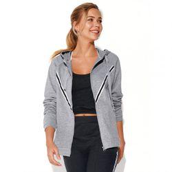Promo : Sweat fitness zippé à capuche manches longues poches - gris chiné - 3 SUISSES - Modalova