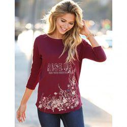 Promo : Tee-shirt manches 3/4 imprimé floral devant - Rouge Grenat - 3 SUISSES - Modalova