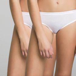 Lot de 2 culottes fille blanches imprimé logo Pocket Basic - DIM - Modalova