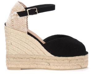 Sandale talon compensé Bianca en coton noir - Castañer - Modalova