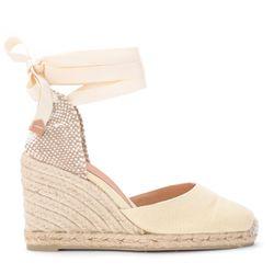 Sandale avec semelle compensée Carina en toile et tissu ivoire - Castañer - Modalova
