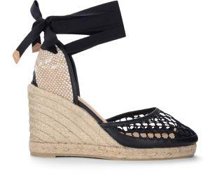 Sandale talon compensé Carola en cuir et coton noir - Castañer - Modalova
