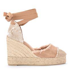 Sandale à semelle compensée Catalina en toile et jute naturelle - Castañer - Modalova