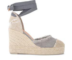 Sandale avec semelle compensée Catalina en toile et jute grise - Castañer - Modalova