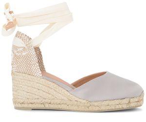 Sandale avec semelle compensée Carina en satin et jute gris et tourterelle - Castañer - Modalova