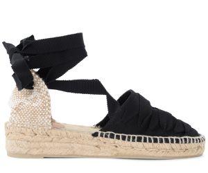 Sandale avec semelle compensée Gina en toile de coton noir - Castañer - Modalova