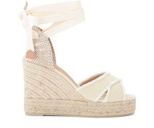 Sandale avec semelle compensée Bluma en toile de coton ivoire - Castañer - Modalova
