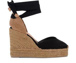 Sandale à talon compensé Chiara en toile et tissu noir - Castañer - Modalova